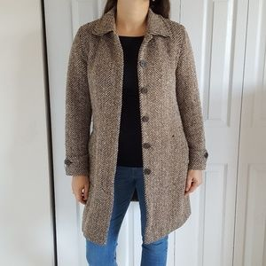 J. Crew Brown Herringbone Wool Car Coat Size S